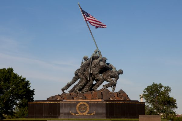 The Marine Corps War Memorial in Arlington, Va., can be seen prior to the Sunset Parade June 4, 2013. Sunset Parades are held every Tuesday during the summer months. (U.S. Marine Corps photo by Adrian R. Rowan/Released)