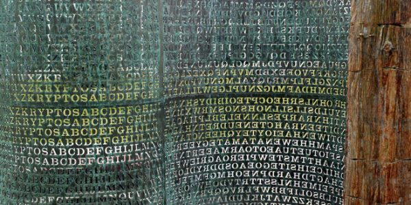 Image #: 12705752 Kryptos is a sculpture by American artist Jim Sanborn located on the grounds of the Central Intelligence Agency (CIA) in Langley, Virginia. Since its dedication on November 3, 1990, there has been much speculation about the meaning of the encrypted messages it bears. Of the four sections, three have been solved, with the fourth remaining one of the most famous unsolved codes in the world. The sculpture continues to provide a diversion for some employees of the CIA and other cryptanalysts attempting to decrypt the messages. MAI /Landov