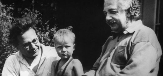 16th February 1936:  Full-length portrait of German-born physicist Albert Einstein (1879-1955) with his son Hans Albert, left, (1904 - 1973) and grandson Bernhard sitting on steps.  (Photo by American Stock/Getty Images)